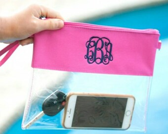 Clear Zip Pouch - Game Day - Monogrammed Clear Purse - Game Day Purse - Pink wristlet  Purse - Pink Beach Purse - Pink Gameday