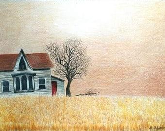Original landscape drawing, art, not a print