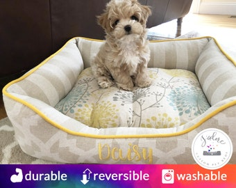 Daisy Dog Bed or Cat Bed with Embroidery | Bed is Reversible & Washable!  Cloud Linen, Yellow - Design Your Own