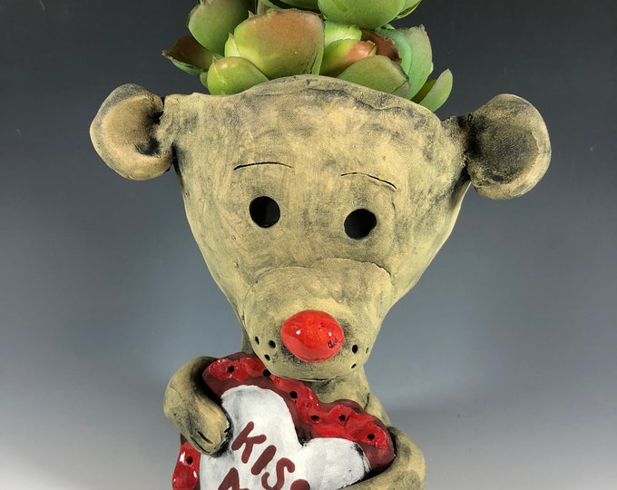 Barry the Bear // Succulent Pot // Animal Planter // Hearts // Seconds Sale // Pothead // Small // Cute // Brown // Small Sculpture // Gift
