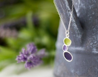 Silver Pebble Necklace - Purple, Lilac, Sage Green - Sterling Silver , Shabby Chic Beachy , Ocean Inspired , Boho Jewelry , Dainty Pedant
