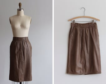 Vintage Versace Leather Pencil Skirt / 80s Skirt