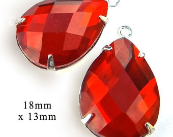 CLEARANCE - Light siam red glass teardrops - 18x13mm faceted rhinestone earring drops or pendants - one pair