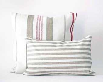 Decorative pillow Vintage, cotton, with stripes