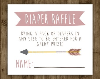 Diaper Raffle Insert. Printable. Arrow. Invitation Insert. Baby Shower. Boho. Baby. Girl