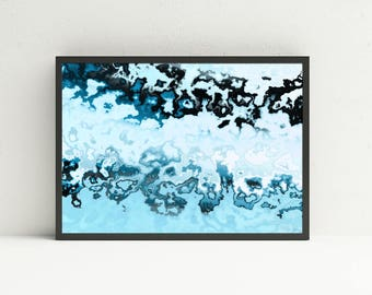 Blue Abstract Wall Art - Marble Printable Wall Art - Geologic Wall Art - Digital Art Download - Masculine Wall Art - White Abstract Wall Art
