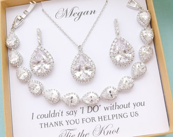 Bridesmaid Jewelry, Personalized Bridesmaid Gift, Wedding Jewelry Set, Mother of Bride Groom Gift, Bridesmaid Earrings and Necklace Bracelet