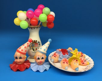 Vintage Cake Toppers, Clowns and Balloons, Clown Head, Wilton Cake Topper, Birthday Cake Topper