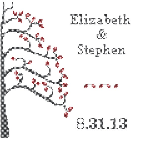 Simple Tree Cross Stitch Pattern Modern Wedding Cross Stitch