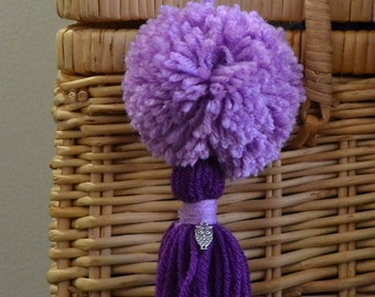 Lavender and Purple Pom Pom & Tassel Clip-on with Owl Charm -  Keychain, Beach Bag or Backpack Flair Clip