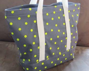 FREE SHIPPING ALWAYS - Neon Green and grey polka dot tote bag, cotton bag, reusable grocery bag, knitting project bag, beach bag,