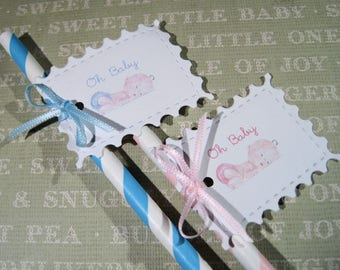 Fun Baby shower party straws - Set of 12 - Oh Baby - Reveal Shower - Blue - Pink - Adorable Sleeping Baby
