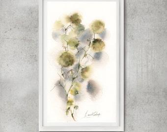 Abstract Botanical ORIGINAL Watercolor Painting, abstract realism watercolor painting of flowers, abstract botanical modern painting