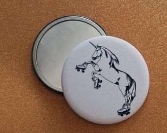 2.25 Inch Roller Skating Unicorn Hand Mirror - Roller Derby, Unicorn Art, Unicorn Hand Mirror, Unicorn Pocket Mirror, Unicorn Compact Mirror