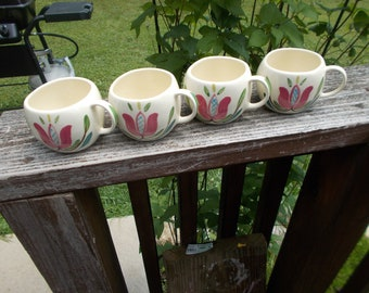 Vintage Purinton Pottery Hand Painted Slip Ware Pennsylvania Dutch Set of 4 Coffee Cups