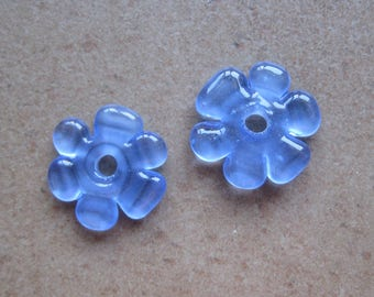 Lampwork Beads - SueBeads - Disc Beads - Disc Flowers - Blue Cut Disc Flower Bead Pair - Handmade Lampwork Beads - SRA M67