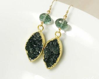 50% OFF SALE - Gold Aqua Green Quartz and Black Druzy Leaf Earrings - 14Kt Gold Filled