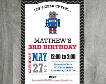 Robot Birthday, Digital Files, DIY Party Printable, Personalized, Custom, Baby Boy Shower, Boy Party, Science Theme