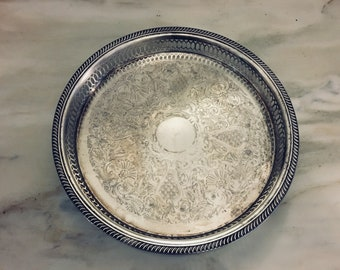 Vintage Silver Tray; Round Vanity Tray; Jewelry Dish; Shabby Chic French Décor; French Farmhouse Décor