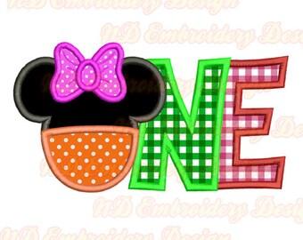 EIN Minnie Hose Stickerei Applique Design, Bogen-Mouse-Ohren, ms-127