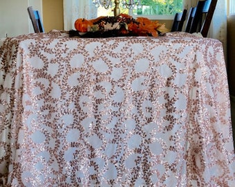 Rose Gold Vine Sequin Table Runners, Rose Gold Sequin Table Runners