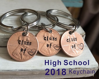 Graduation gift, 2018 graduates gifts, Class of 2018 penny keychain, lucky us penny keyrings, graduates keychain, Graduattion gifts 2018