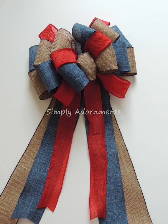 Rustic Patriotic July 4th Wreath bow July 4th Party decor Red Blue Burlap Patriotic Wedding Pew Bow Fourth of July Bow Independence Day Bow