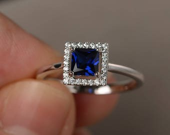 Sapphire Ring Engagement Ring Square Cut Blue Gemstone Ring September Birthstone Sterling Silver Ring
