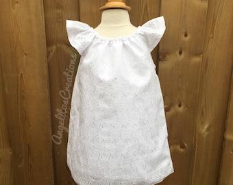 White Baby Dress and bloomer 2pcs, Toddler Flutter Sleeves Dress, Christening Dress, Baptism Dress, Flower Girl Dress, White Eyelet dress