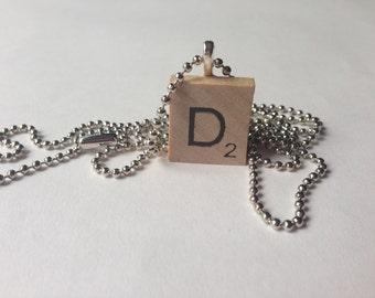 Scrabble Tile Alphabet Letter Necklace D