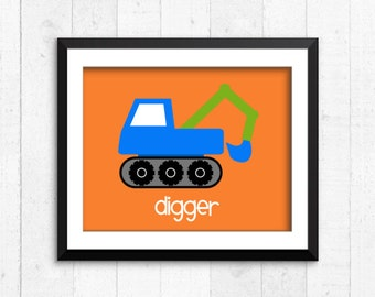 Trucks, construction, boy art prints, digger print, construction art, baby decor, construction wall art, construction print, trucks, A-1003