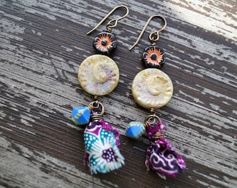 Boho Tassel Earrings - Purple and Blue Earrings - Silk Tassels - Shell Earrings - Blue Sea - Bead Soup Jewelry