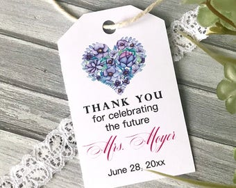 bridal shower tags favor tags bridal brunch personalized tags thank you tags