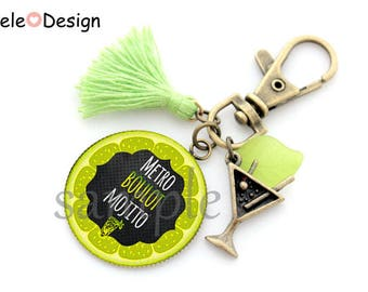 Black Metro job Mojito cocktail cabochon gift tassel keychain
