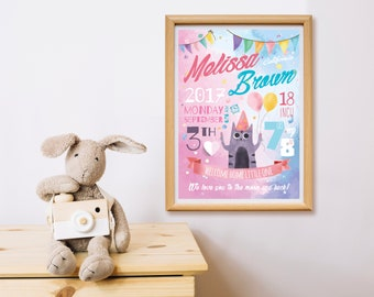 Baby Girl Nursery Wall Art Birth Announcement Pink Blue Newborn Welcome Sign Wall Decor Cat with Balloons Custom Digital /Any Colors/