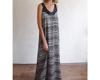 Satin silk maxi dress, Black and white Print Dress, Maxi dress, SisterMdesigns,Vegan Leather, Loose evening dress