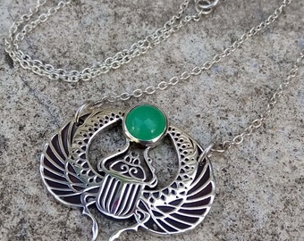 Sterling Silver Scarab Beetle Necklace / Chalcedony Necklace / Silver and Chalcedony Choker Necklace