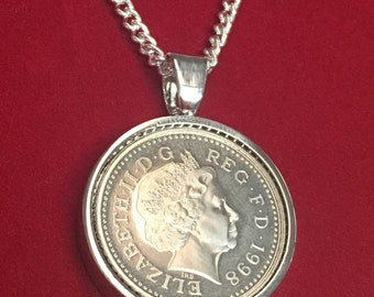 2000 18th birthday Five pence coin pendant - silver plated