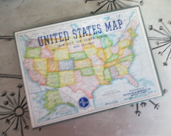 United States Map Puzzle Die Cut States Puzzle 1950s Puzzle Salchow & Righter Co. Selright Puzzle #519 Globe