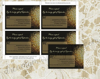 Wedding Response Card Template, Gold Sparkle, Black and Gold Printable RSVP Card, Gold Sparkles, Editable Word File, DIY You Print, S018