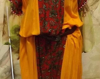 35% Off Sale Boho Gypsy Chic Marigold red paisley pheasant dress large 1970