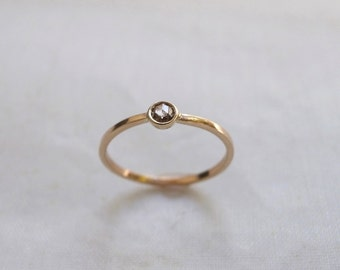 Rose cut champagne diamond ring - 14k gold