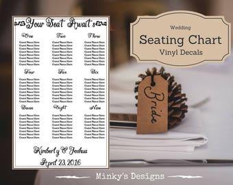 Wedding Seating Chart - Table Plan Vinyl Decal Sticker - Custom Made Wedding Decals