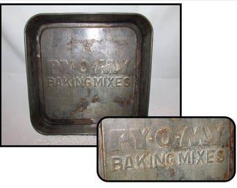 Vintage Py-O-My Baking Mixes Cake Pan, Advertising Giveaway, square, bakeware