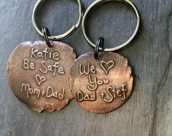 Custom key chain with your personalized message kiln fired copper or bronze