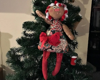Handmade Whimsical Primitive Candy Cane Annie Cloth Doll  Wall Doll Decor