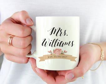Mrs Coffee Mug - Mrs Mug - Bride Coffee Mug - Bridal Shower Gift - Wedding Day Gift for Bride - Newlywed Gift - Gift for Her - Under 20