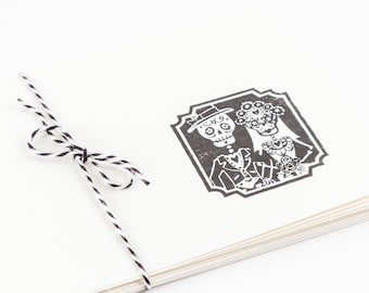 Day of the Dead Wedding Blank Cards Set of 5 Folded hand stamped teacher gift bride and groom dia de los muertos