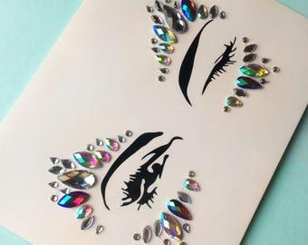Iridescent Stick On Face Gems  (Set 3) (Body gems, body crystals, festivals gems , all in one gems, body festival jewelles)