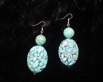 Turquoise Gemstone Earrings - Sterling Silver earwire - Genuine Turquoise Earrings for Her